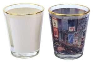 1.5oz shot glass with golden rim