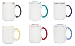 15oz Sublimation Color Rim Mug