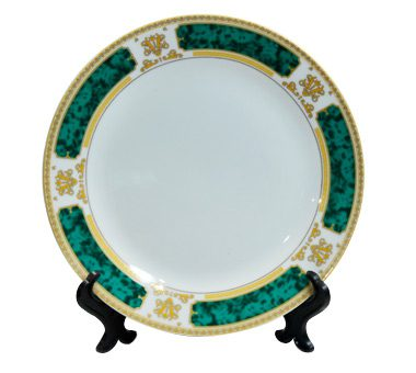 8 Inch White Ceramic Plate With Green Edge
