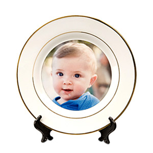 Sublimation 10'' White Ceramic Plate with golden rim