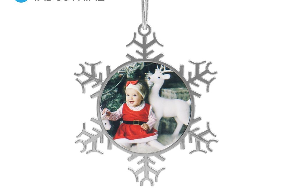 Sublimation snowflake metal Christmas baubles sliver snowflake ornament for holiday decoration