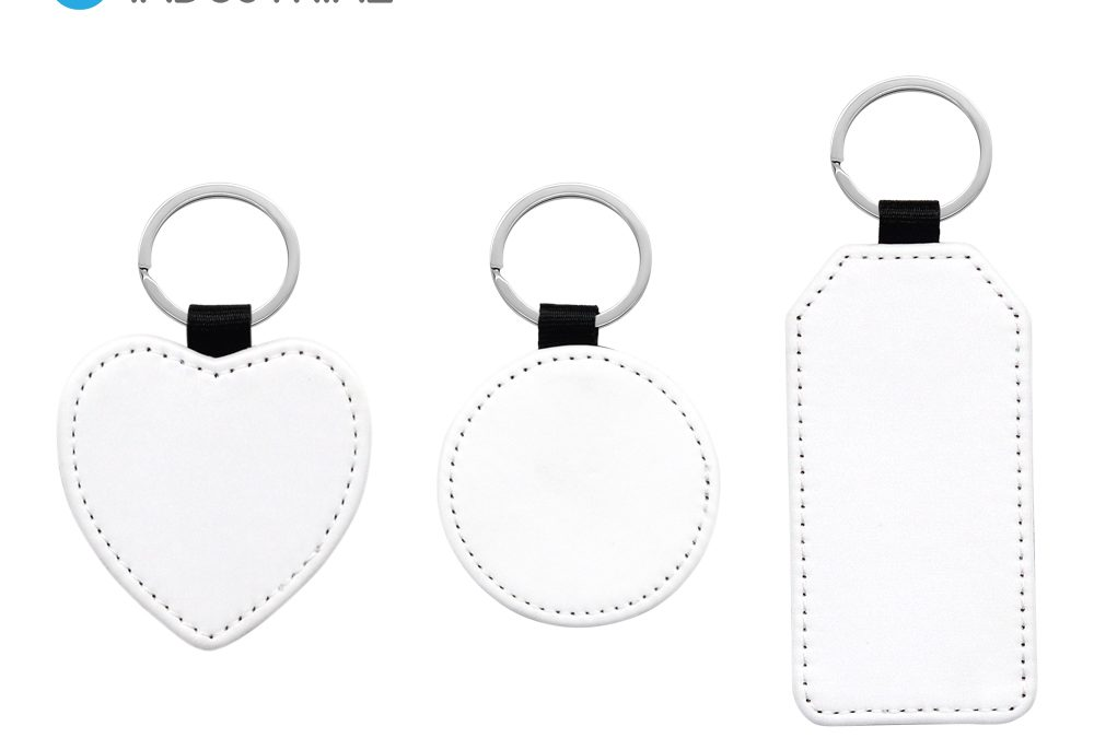 Sublimation PU Leather Round/Rectangle/Heart Shape Keychain for Heat Transfer for DIY Craft Supplies