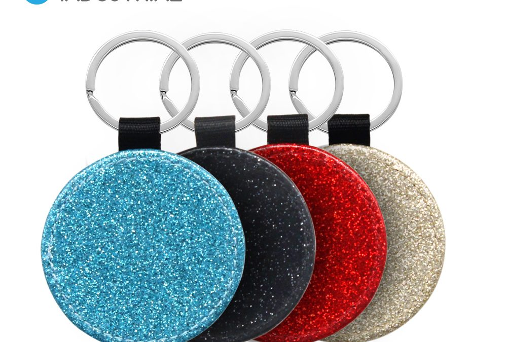 High quality!! Customized Leather Glitter Sublimation Round Keychain/ Sublimation Blank PU keychain Round