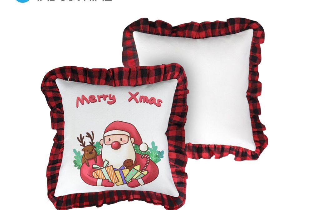 Sublimation linen pillow case buffalo plaid cushion covers for Christmas decoration