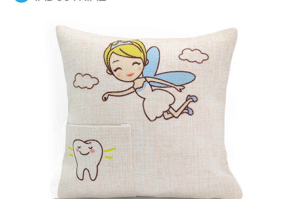 Sublimation linen square tooth fairy cushion cover pillow cover with pocket
