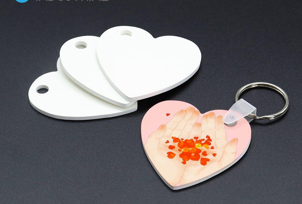 Blank Sublimation HPP Key ring Sublimation Customized Heart Shape Photo Keyring