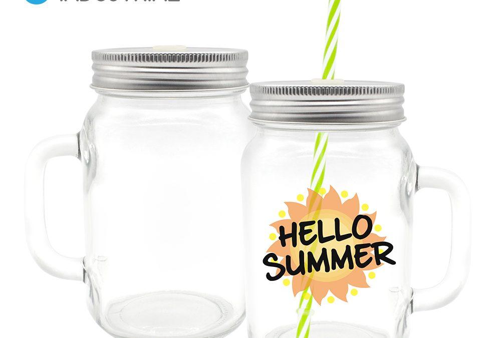 Sublimation Blank Transparent Glass Mason Jar with Straw