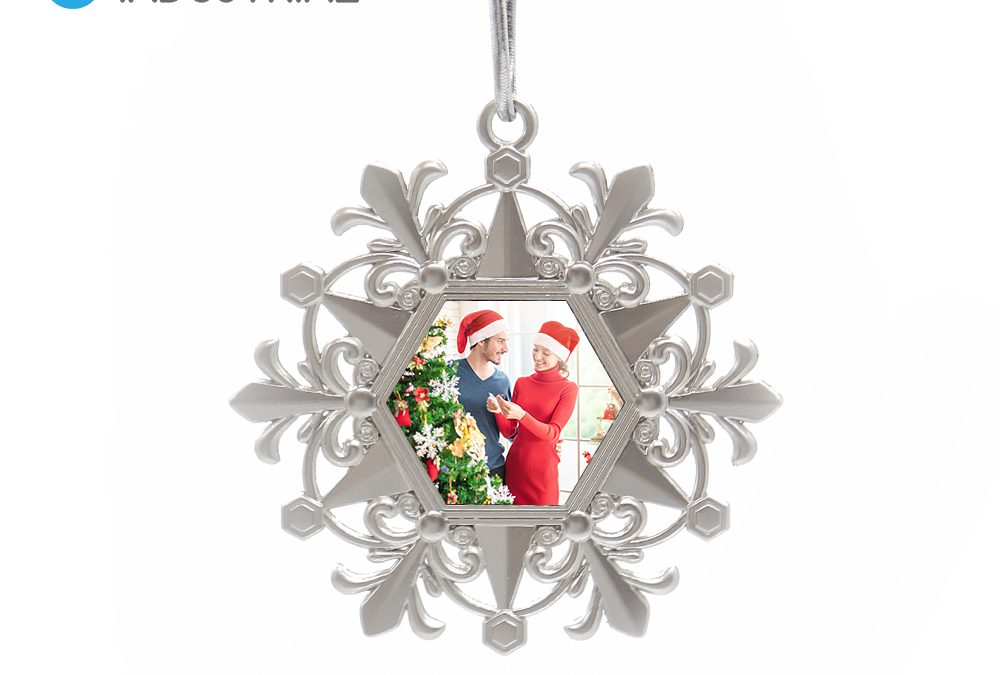 Sublimation snowflake Christmas pendants metal Christmas baubles ornaments for holiday decoration