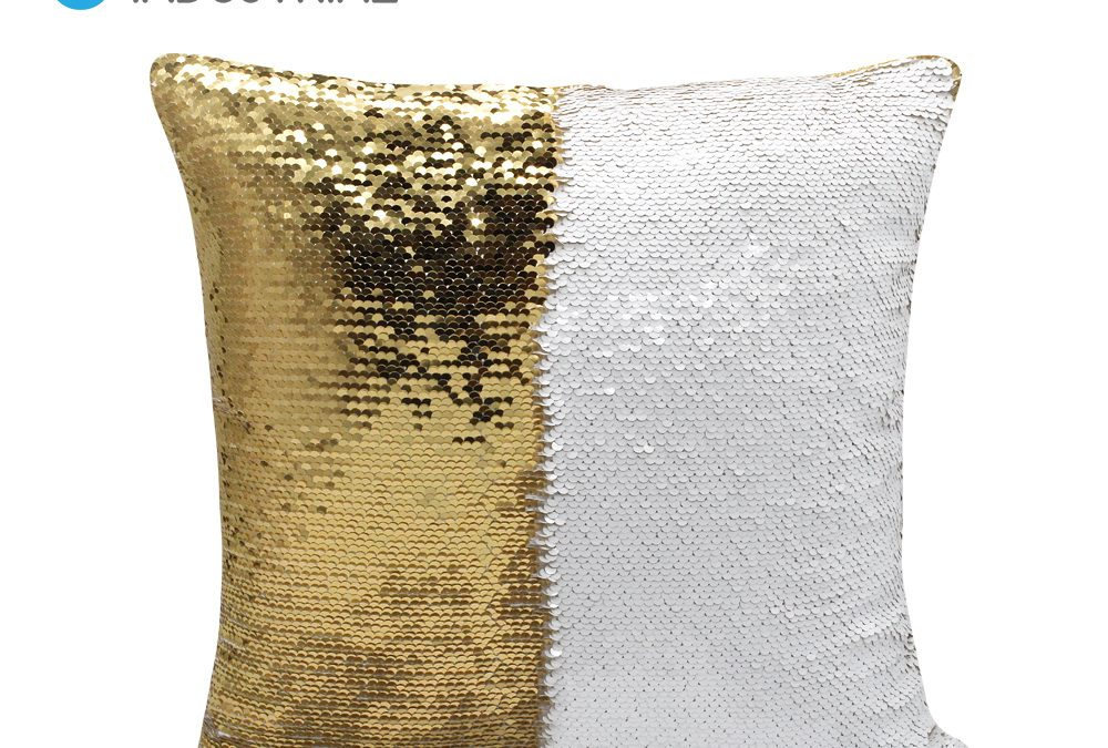 Blank Sublimation Flip Sequin Square Pillow Case Cushion Cover Gold with White 40*40cm